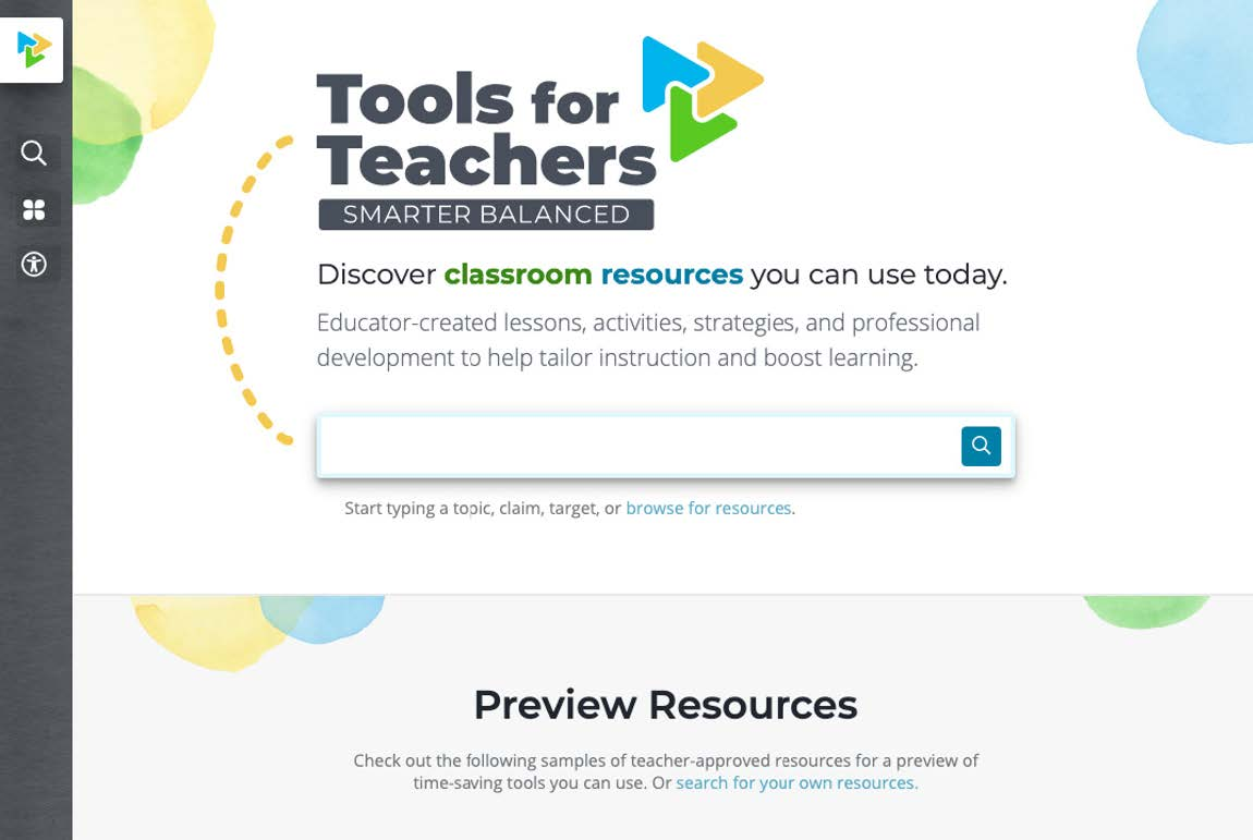 Screenshot of the Tools for Teachers website homepage.