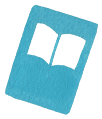 illustration of a book outlined in white against a blue background