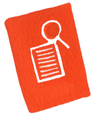 illustration of a piece of paper and a magnifying glass outlined in white against an orange-red background