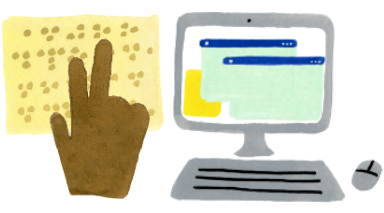 Two icon illustrations including a hand tracing over braille and a desktop computer with browsers opened on the screen and a mouse sitting next to the keyboard.