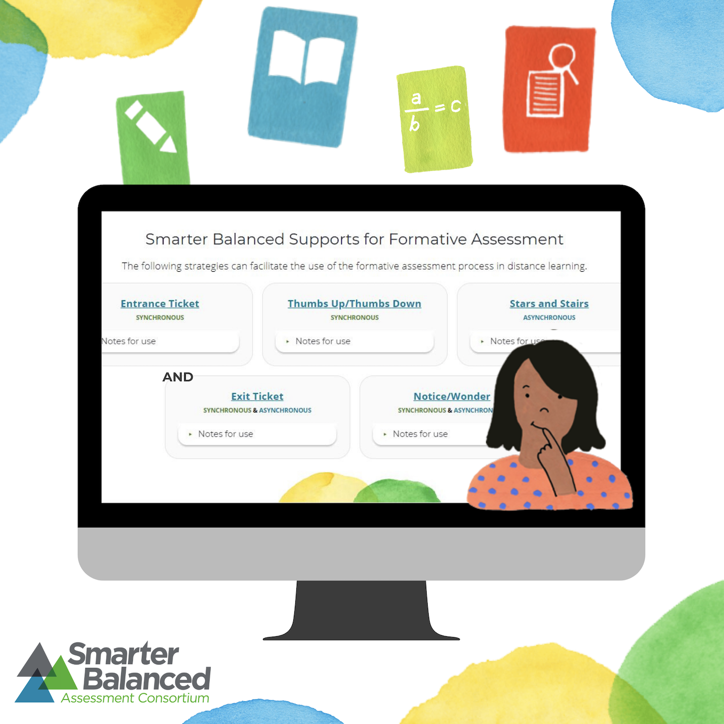 Illustration showing the Smarter Balanced supports for formative assessment strategies on a computer screen.