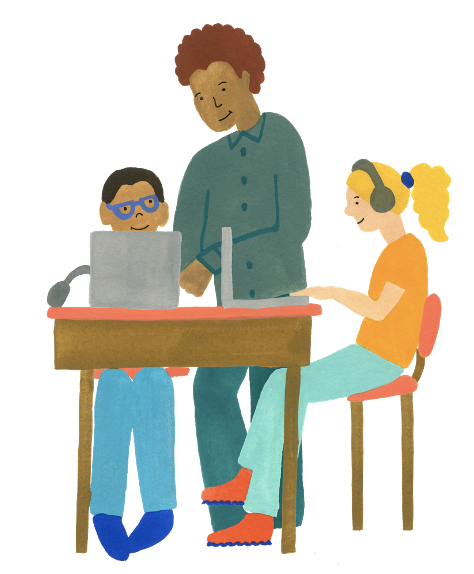 Illustrated drawing of a teacher standing between two students working from computers at a table. The teacher is working with the student on the left, while the student on the right wears handphones.