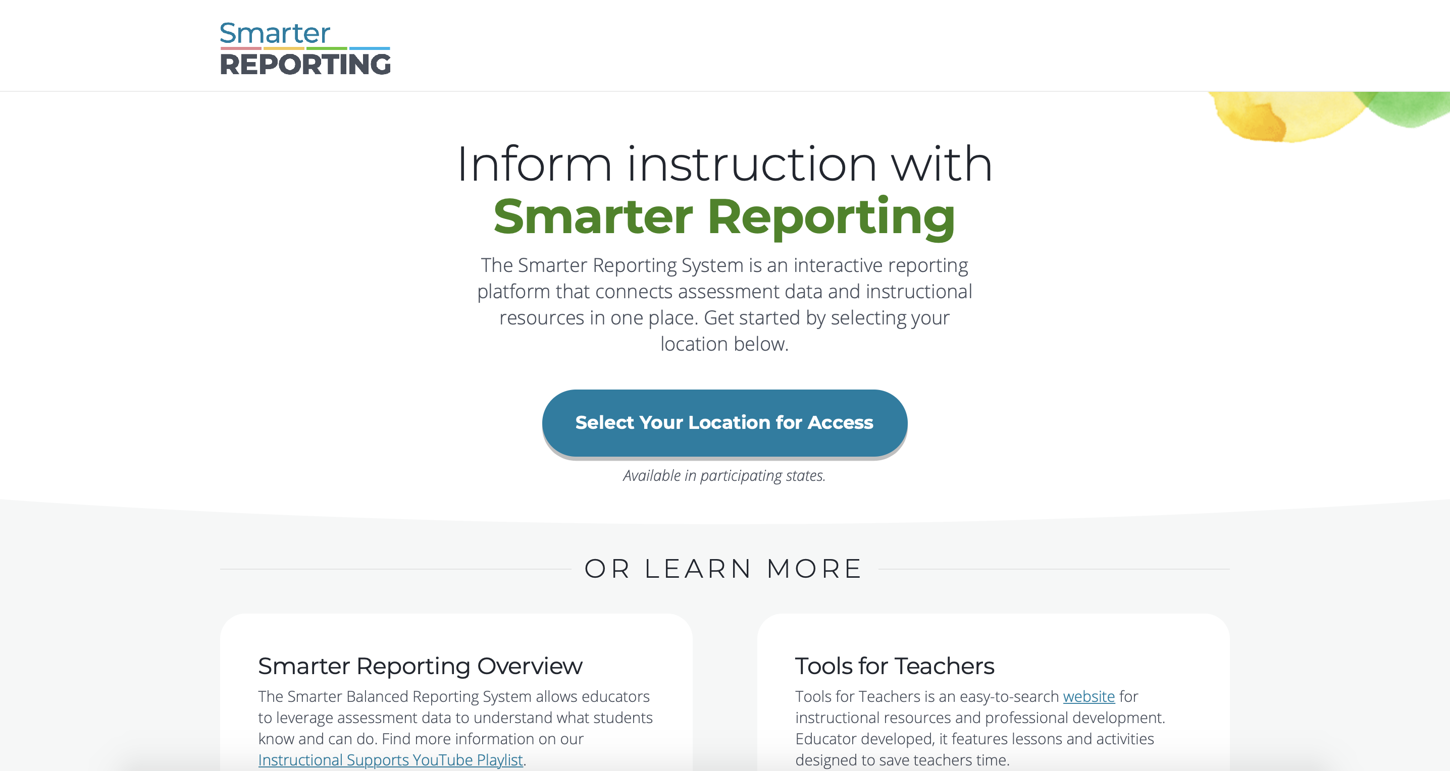 Screenshot of the homepage of the Smarter Balanced Reporting System website.