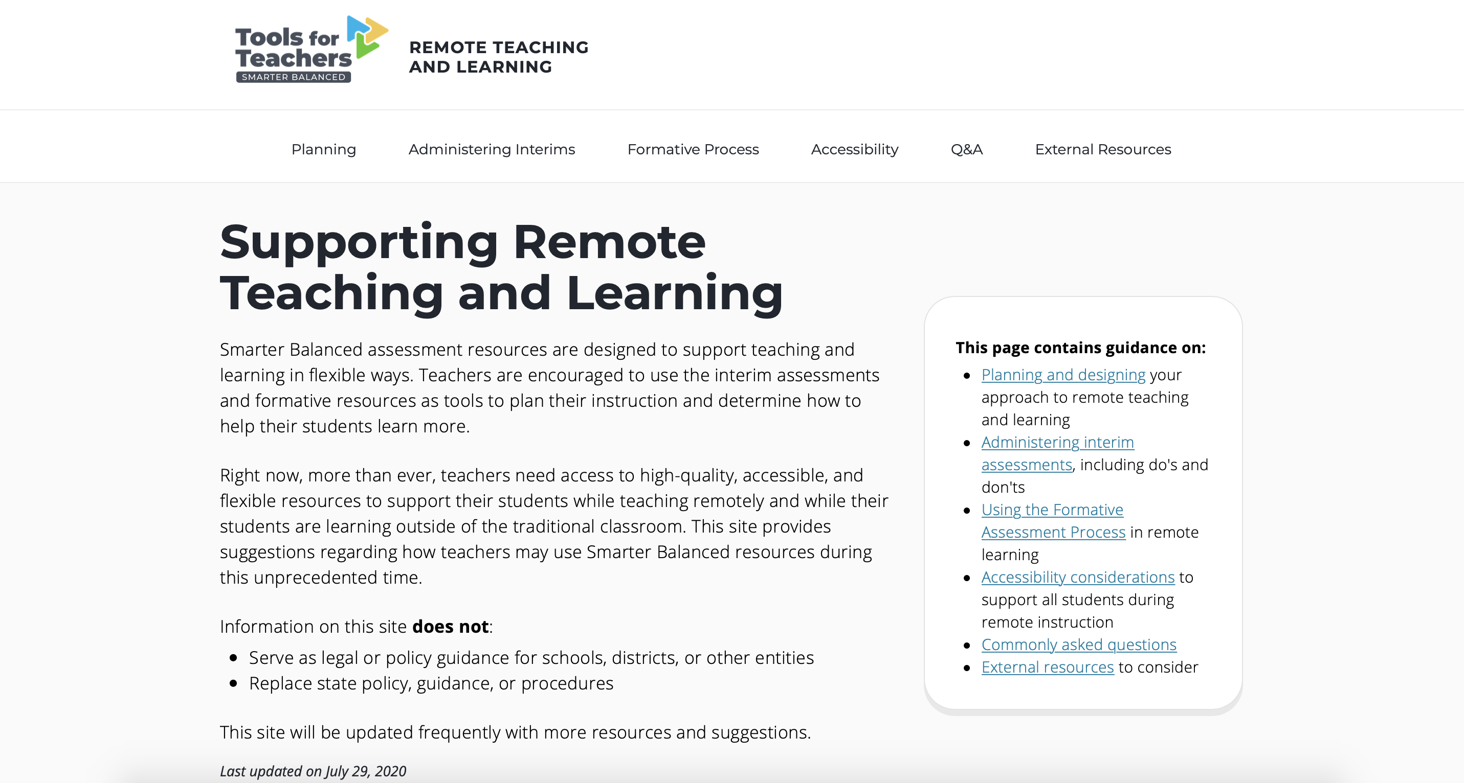 Screenshot of the Tools for Teachers Remote Teaching and Learning website homepage.