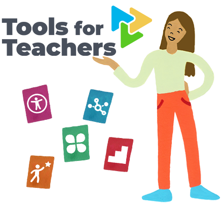 Illustration of teacher standing next to Tools for Teachers website logo. Icons representing professional development, accessibility, the formative assessment process, and connections playlists float nearby.
