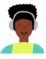 Illustration drawing of student wearing headphones.