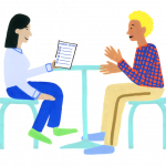 Illustration drawing of parent and teacher sitting at a table talking about the Smarter Balanced Parent Guide.