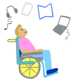 Illustration drawing of a student in a wheelchair looking up at accessibility resources including headphones, a tablet, an open book, and a computer with a mouse.