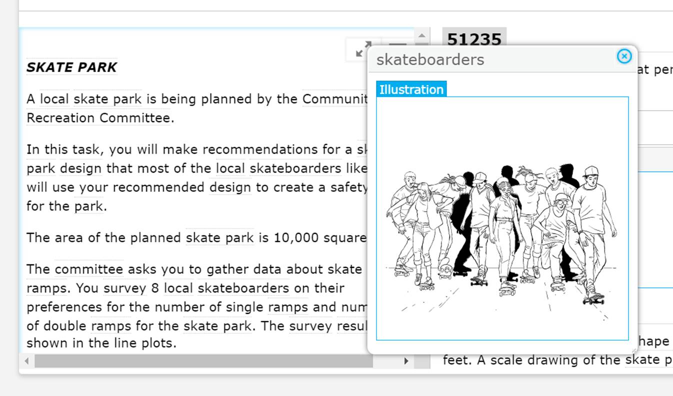 Example of the Illustration Glossary that is meant to help students understand words or phrases in test questions in a visual way. The example shown here is an illustration of the word skateboarders.