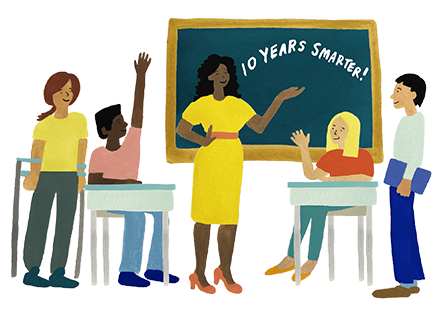 "Watercolor illustration of a teacher standing in front of a chalkboard that says, ""10 Years Smarter."" Students sit at desks and stand nearby, some raising their hands."