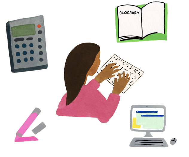 Icon illustrations of the Smarter Balanced accessibility resources surrounding a girl reading Braille including a pink highlighter, computer, calculator, and book open with the word glossary on the left page.