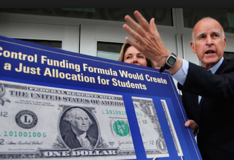 Gov. Jerry Brown campaigning for passage of the Local Control Funding Formula in Los Angeles in 2013.