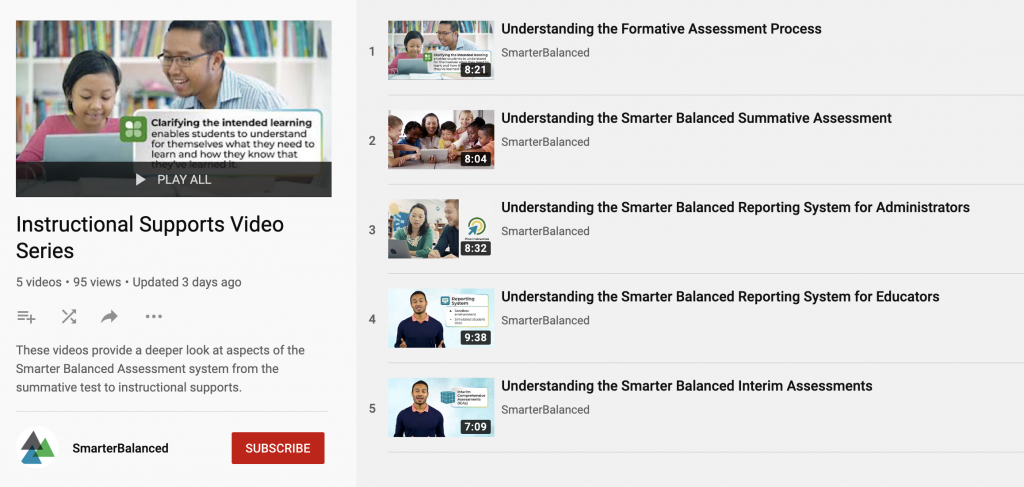 Smarter Balanced Instructional Supports Video Series Youtube playlist.