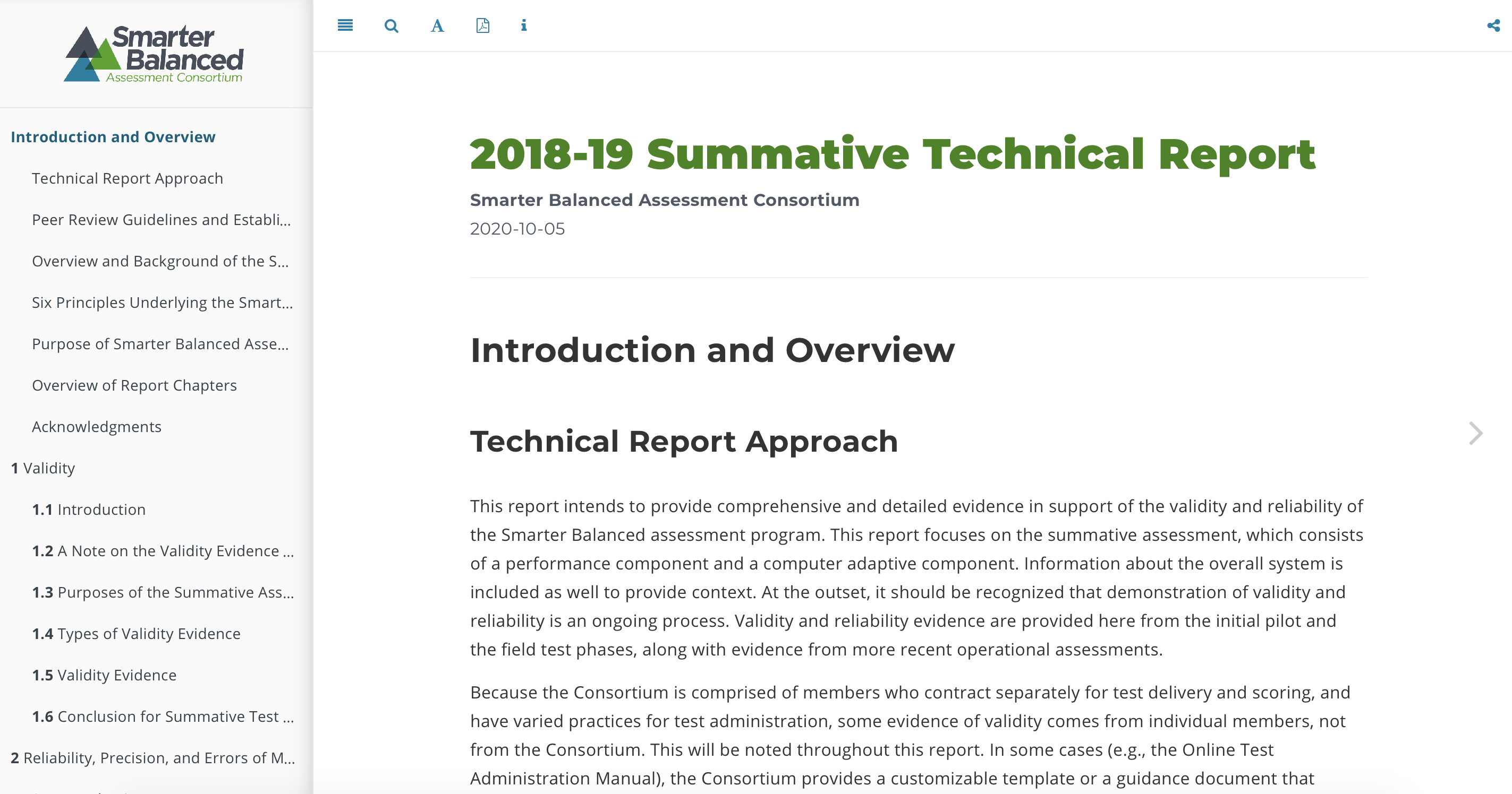 Screenshot of the 2018-19 Summative Technical Report.