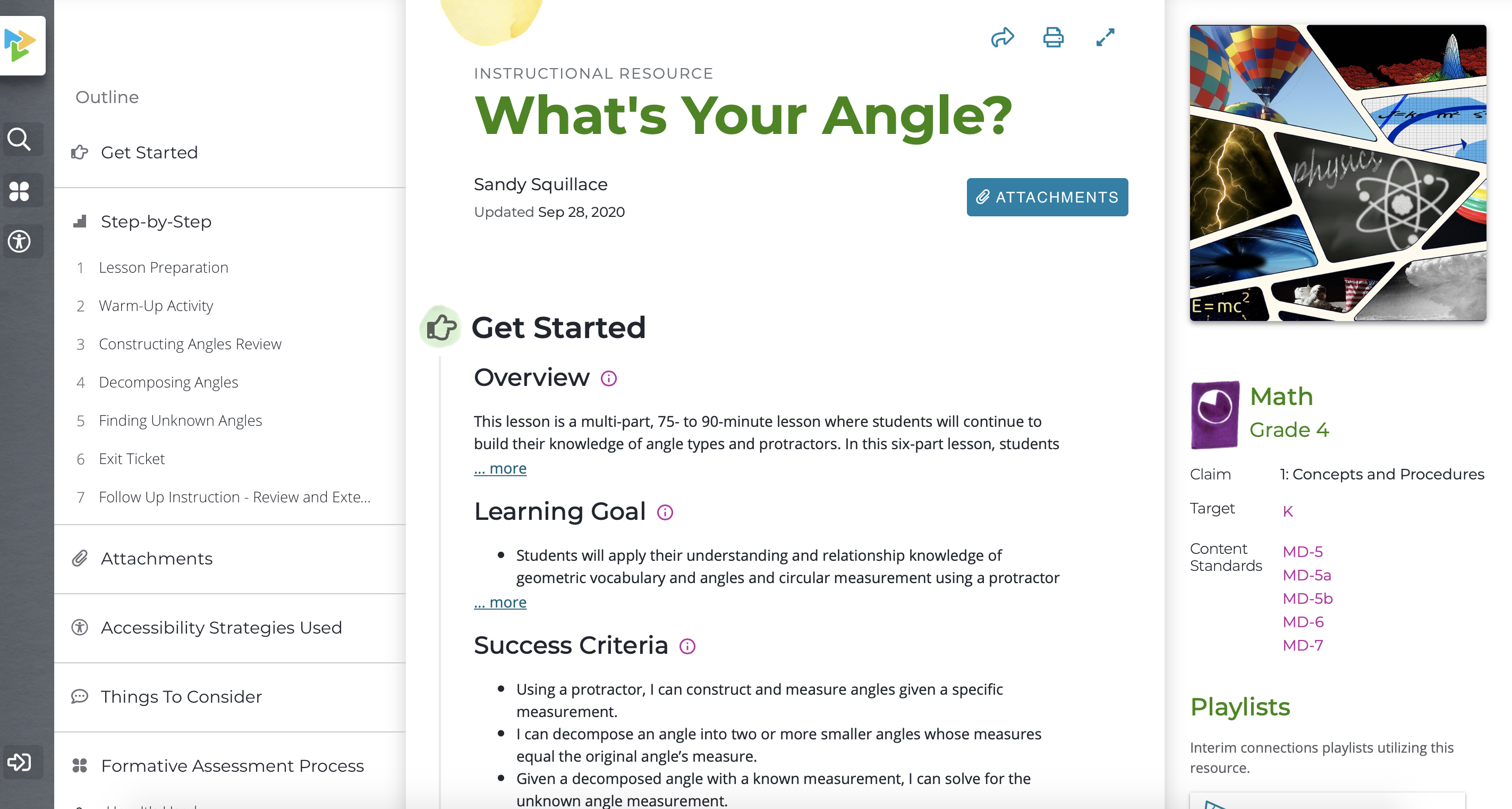 "Screenshot of the ""What's Your Angle"" Instructional Resource on Tools for Teachers."