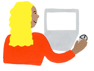 Illustration drawing of a woman looking at a computer screen and using a mouse to navigate.