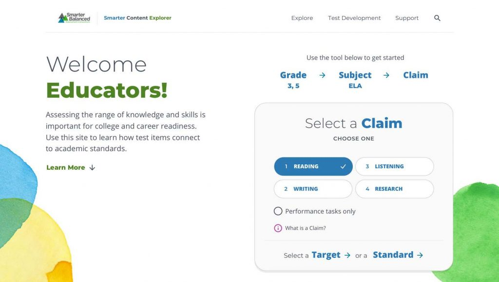"Home page of the Smarter Content Explorer web site includes a ""Welcome Educators"" message and a menu to select grade, subject, claim, target, and standard."
