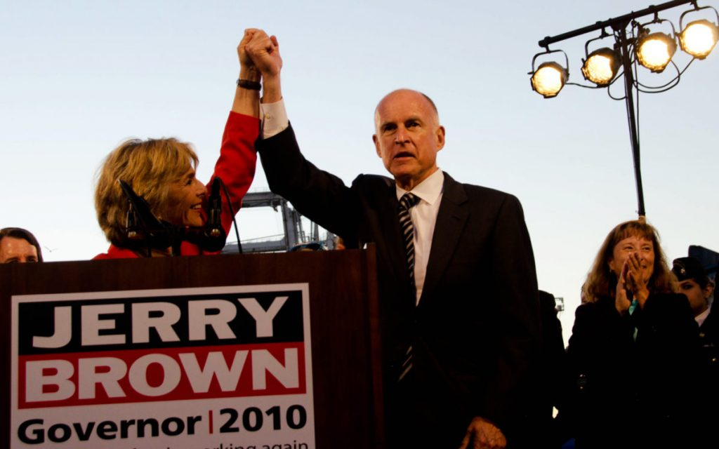 Jerry Brown at an Oakland campaign event with Barbara Boxer in 2010.