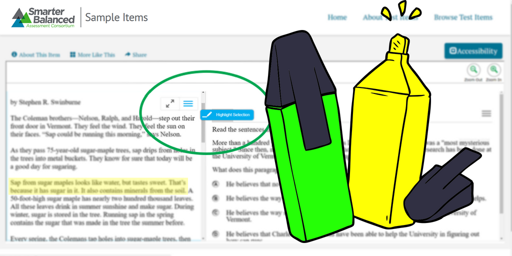 The highlighter is a universal test tool available on interim assessments, the summative test, and practice tests.