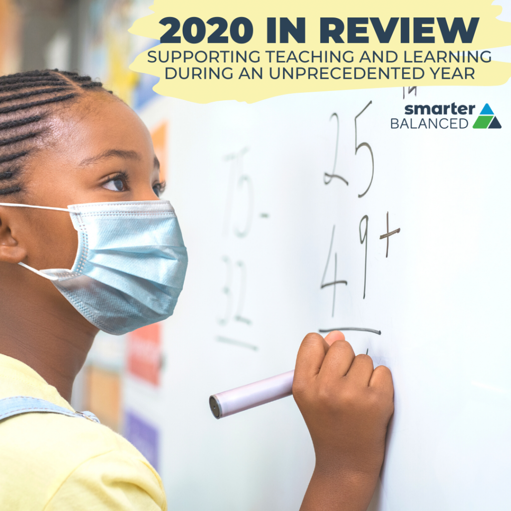 "A student wearing a mask calculates equations on a large white board. Text reads: ""2020 in Review: Supporting Teaching and Learning During and Unprecedented Year"""