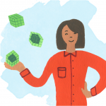 A teacher stands with a hand on her hip while green blocks float above her open hand, each depicting a different type of interim assessment from smallest quantity of knowledge assessed to largest.