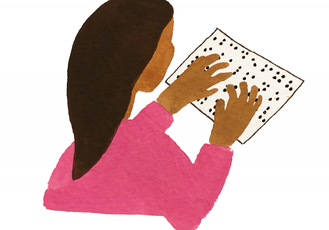 Illustration drawing of a girl reading Braille.