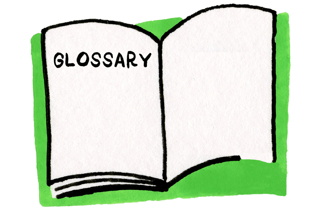 "Icon illustration of an open book with the word ""Glossary"" featured on the left page."